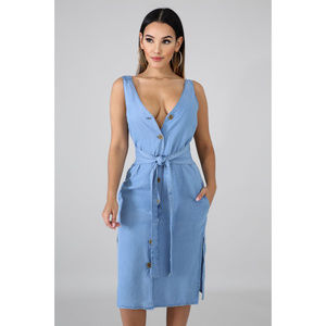 Dresses & Skirts - Denim Button Front Double Side Slit Midi Dress